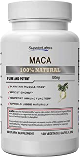 Superior Labs Organic Peruvian Maca 100% Pure NonGMO - Stress Relief and Anxiety Supplement - Zero Synthetic Additives, St...