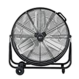 Comfort Zone CZMC24 2-Speed High-Velocity 24-inch Industrial Drum Fan with Aluminum Blades, 180-Degree Adjustable Tilt and Built-in Rubber Wheels