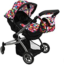 Mommy & Me Babyboo Deluxe Twin Doll Pram Foldable Doll Stroller with Convertible Seat, Swiveling Wheels, Adjustable Handle, and Free Carriage Bag, Gumball & Black (Multi Function) - 9651A