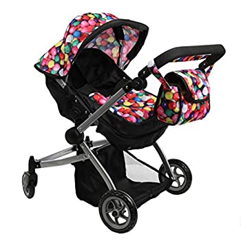 Mommy & Me Babyboo Deluxe Twin Doll Pram Foldable Doll Stroller with Convertible Seat Swiveling Wheels Adjustable Handle and Free Carriage Bag Gumball & Black  Multi Function  - 9651A