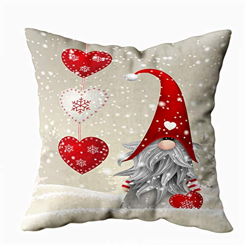 Capsceoll Christmas Throw Pillow Covers,20X20Inch in Norway and Sweden Scandinavian Folklore Elves Nordic Christmas Motive Standing Winter Landscape Decorative Throw Pillows Cushion for Sofa Bed