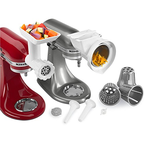 KitchenAid 80127 Stand Mixer Attachment with Food Grinder, Rotor Slicer, Shredder and Sausage Stuffer, White