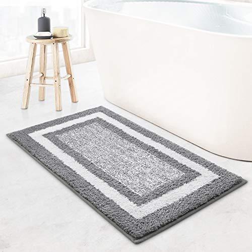 KMAT Bathroom Rugs Bath Mat,Non-Slip Fluffy Soft Plush Microfiber Bath Rugs, Machine Washable Quick Dry Shaggy Shower Carpet Rug for Bathroom, Tub and Shower,Grey,18'x26'