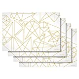 Substance & Matter Silicone Placemats - Set of 4 Modern Design White with Gold Geometric Shapes, Non-Slip, Waterproof, Heat-Resistant, Stain Resistant, Rectangle