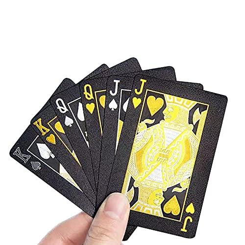 JOOTUEPO Cartas de juego de póquer negro, baraja de diamantes brillantes de alta definición, Resistente al Agua Novedad Cartas de Poker Profesional, uso para fiestas y juegos