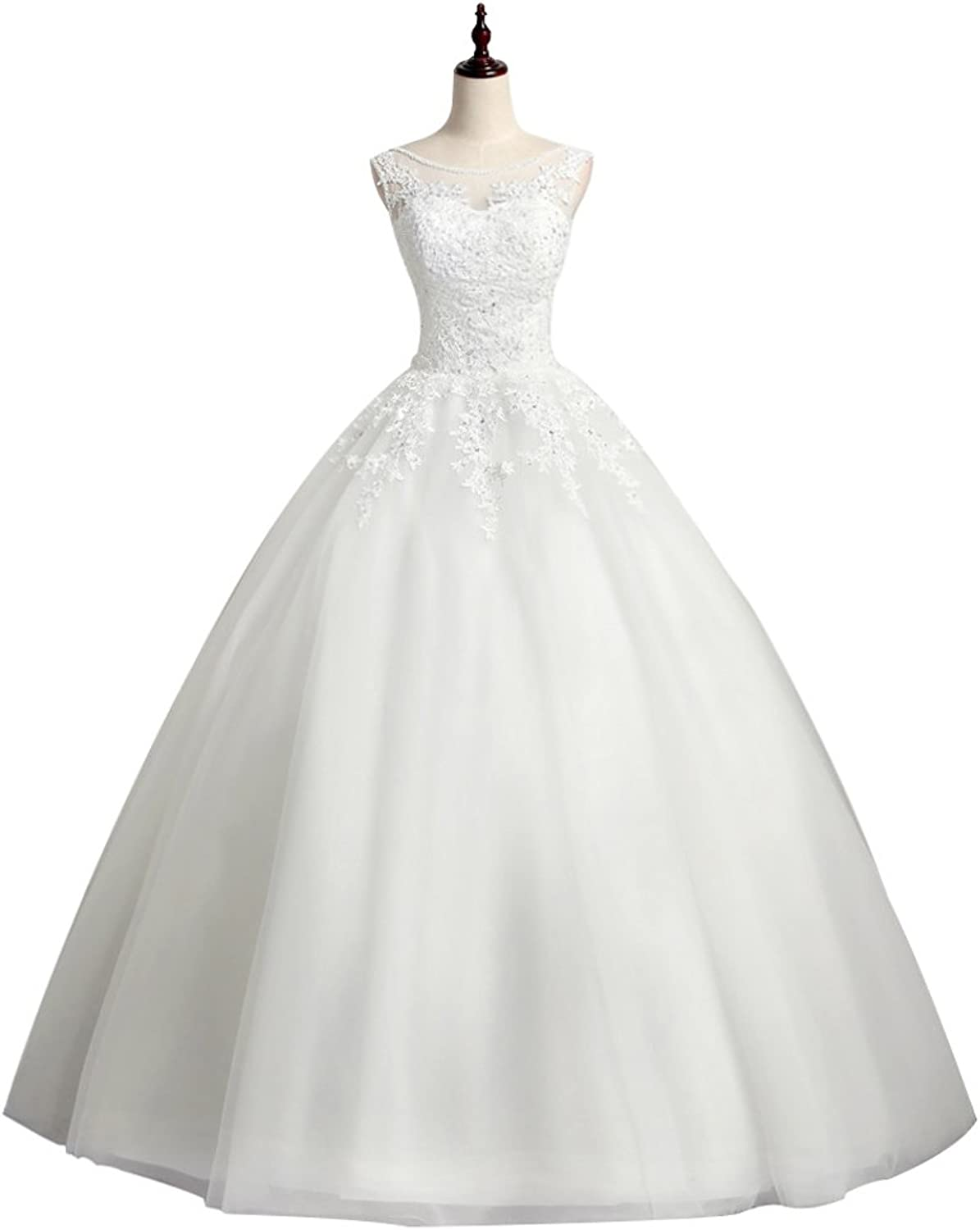 Fipink Women's Cap Sleeves A Line Lace Beaded Wedding Dresses for Bride