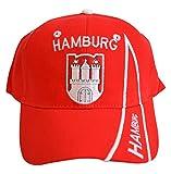 Flaggenfritze Kappe Motiv Deutschland Hamburg rot Fahne, fan - Cap mit Hamburger Fahne