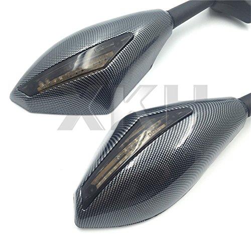 XKH- Carbon Turn Signal Mirrors with Smoke Lens Compatible with Suzuki GSXR 600/750 2001-2005 2009-2012/GSXR 1000 2001-2005, 2009-2012/GSXR 1100 1993-1998/ Hayabusa 1999-2012 [B01KNX9QB2]