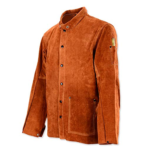 QeeLink Leather Welding Work Jacket Flame-Resistant Heavy Duty Split Cowhide Leather (X-Large) Brown