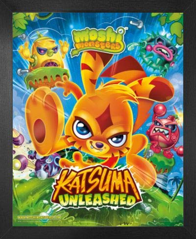 1art1 Moshi Monsters Póster Mini con Marco (Madera DM) - Katsuma Unleashed (50 x 40cm)