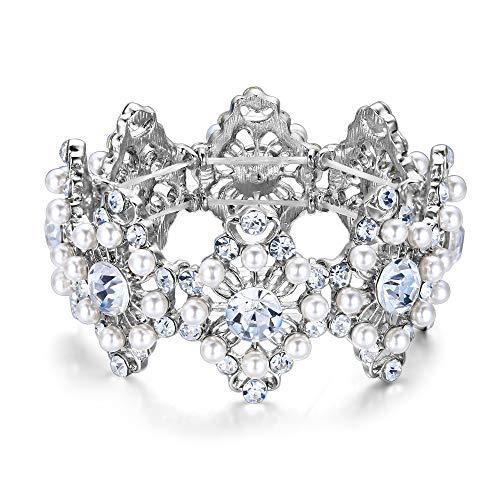 Clearine Armreif Hochzeit Braut Diamant Geformte Simulierte Perle Kristall Edelstein Perlen Stretch Armband für Damen Klar Silber-Ton
