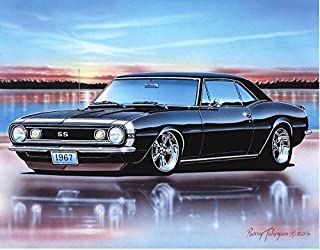 1967 Chevy Camaro SS Coupe Muscle Car Art Print Black 11x14 Poster