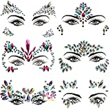 Face Jewels, 6 Pcs Face Crystal Sticker for Women Girls Makeup - Rhinestones Mermaid Face Jewels Gems Eye Face Temporary Tattoos Self Adhesive for Festival Rave Carnival
