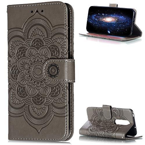 ZCXG Handyhülle für Nokia 6.1 Plus/Nokia X6 Hülle Leder Grau Mandala Magnet Slim Silikon Hülle Inner Flip Cover Schutzhülle Nokia 6.1 Plus Tasche Blume Brieftasche Mädchen mit Kartenfach Holster