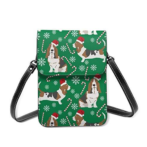 Bolsa de hombro pequeña, basset hound bastones de caramelo de invierno copos de nieve para perro, bolsa cruzada para teléfono celular, cartera ligera para mujeres y niñas