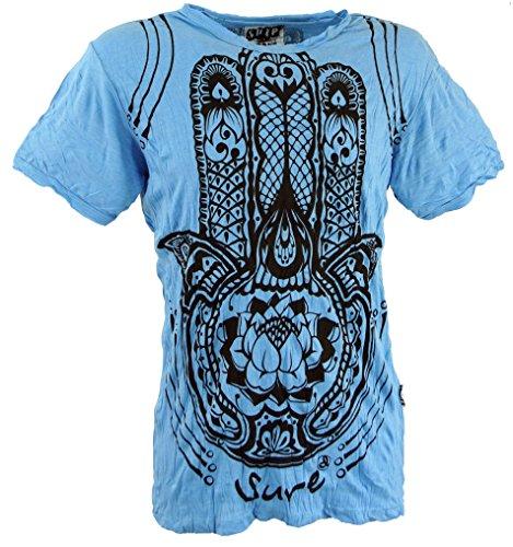 GURU SHOP Sure T-Shirt Fatimas Hand, Herren, Hellblau, Baumwolle, Size:M, Bedrucktes Shirt Alternative Bekleidung
