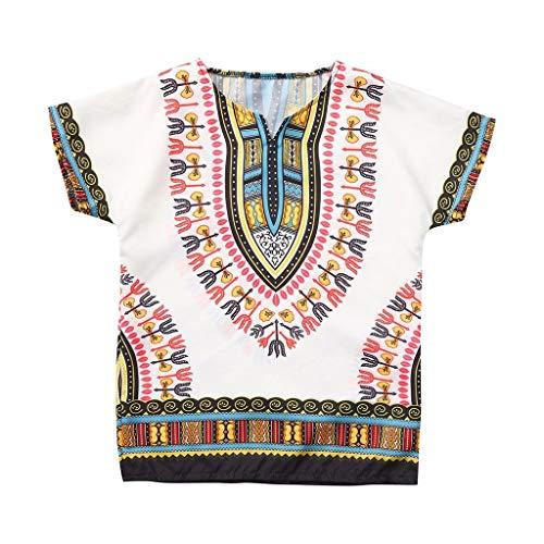 YWLINK T Shirt Manga Corta Tops De Camiseta De Estilo éTnico De Estilo Africano Masculino Y Femenino Mezcla De AlgodóN CóModo Fiesta,Rosa Caliente, Verde, Azul, PúRpura, Beige, Blanco, Naranja
