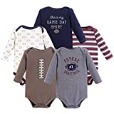 Hudson Baby Unisex Baby Long Sleeve Cotton Bodysuits, Football Season Long Sleeve 5 Pack, 0-3 Months (3M)