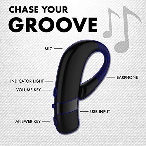 Promate Bluetooth headset, draadloze Bluetooth oorschelp met geïntegreerde microfoon, zweetbestendig, draaibaar 180 graden en hifi-stereo voor muziek, oproepen, smartphones, tablets, statisch, zwart
