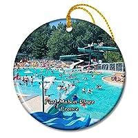 Fort-Mahon-Plage フランス Aquaclub de Belle Duneクリスマスオーナメントセラミックシート旅行お土産ギフト