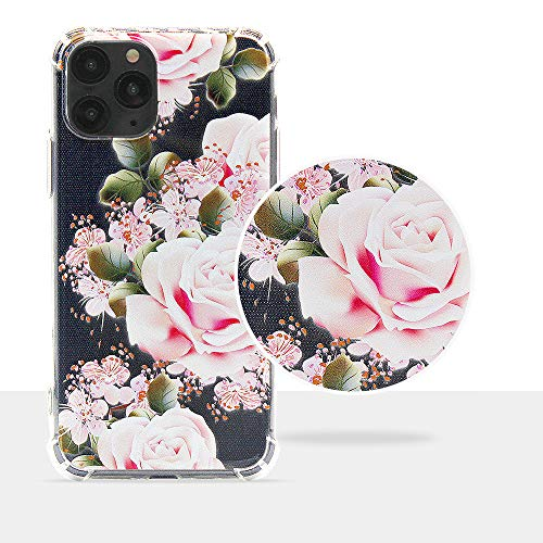 SOYOOY iPhone 11 Case, Clear Flower Design Soft & Flexible TPU Ultra-Thin Shockproof Transparent Bumper Protective Floral Cover Case for iPhone 11 Pro 5.8 Inch 2019 (Rose/Pink)