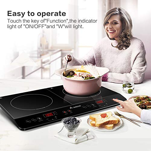 Aobosi Induction Hob, Double Induction Plate,Sensor Touch Control,Black Crystal Glass Plate Surface, Power Setting and Timer Function,2800W