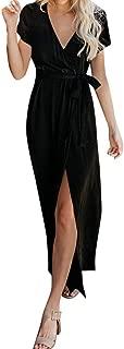 Tantisy ♣↭♣ Women's Elegant Ankle-Length Skirt Cotton Linen Sexy V-Neck High-Slit Birthday Wedding Party Flowy Long Dress Black