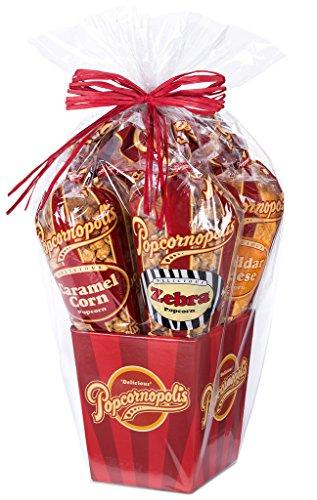Popcornopolis Gourmet Popcorn 5 cone Gift Basket - Premium Including Zebra, Caramel, Cheddar, Kettle Corn and Cinnamon Toast