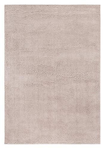 andiamo Shaggy Teppich Cala Seregola, weiche Kunstfaser, strapazierfähig pflegeleicht, Farbe:Beige, Größe:80 x 150 cm