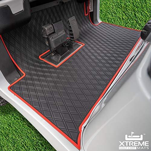 Xtreme Mats Club Car Full Coverage Golf Cart Floor Liner Mat W/Color Options- Fits 2 and 2+2 Club Car Models Precedent (2004+)/Onward & Tempo (2017-2021), Villager - Red Trim