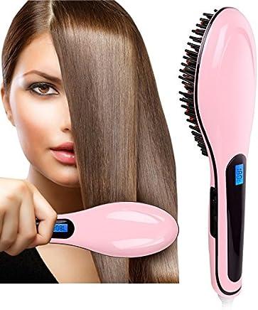 HEMIZA Fast Hair Straightener Brush with Temperature (Multicolor)