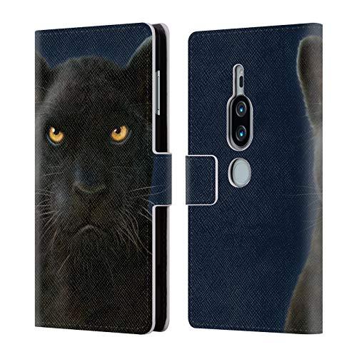 Officiële Vincent Hie Donkere Panter Felidae Lederen Book Portemonnee Cover Compatibel voor Sony Xperia XZ2 Premium