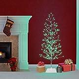 Alpine Corporation BYS144GN Green Alpine Festive Silver Christmas Tree LED Lights