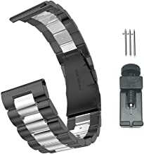 Gear S3 Bands,22mm Quick Release Stainless Steel Metal watchband,Galaxy Watch 46mm Bands,for Samsung Gear S3 Classic Frontier,Gear 2 Neo Live,Moto 360 2 46mm Martwatch Strap (Black+Silver)