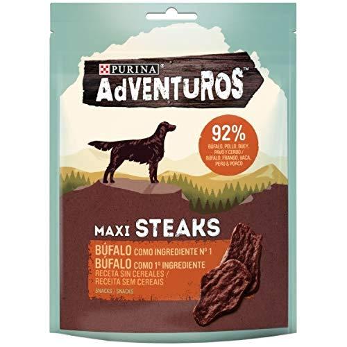 Nestlé Purina Adventuros Snacks y chuches para Perros Maxi Steaks Bufalo 70 g - Pack de 7