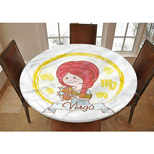 Virgo Elastic Edged Polyester Fitted Tablecolth -Cutle Little Girl Flowers- Large Round Fitted Table Cover - Fits Tables up to 45-56' Diameter,The Ultimate Protection for Your Table