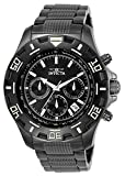 Invicta Men's Specialty 46mm Black and Gunmetal Stainless Steel Chronograph Quartz Watch, Black (Model: 6412)