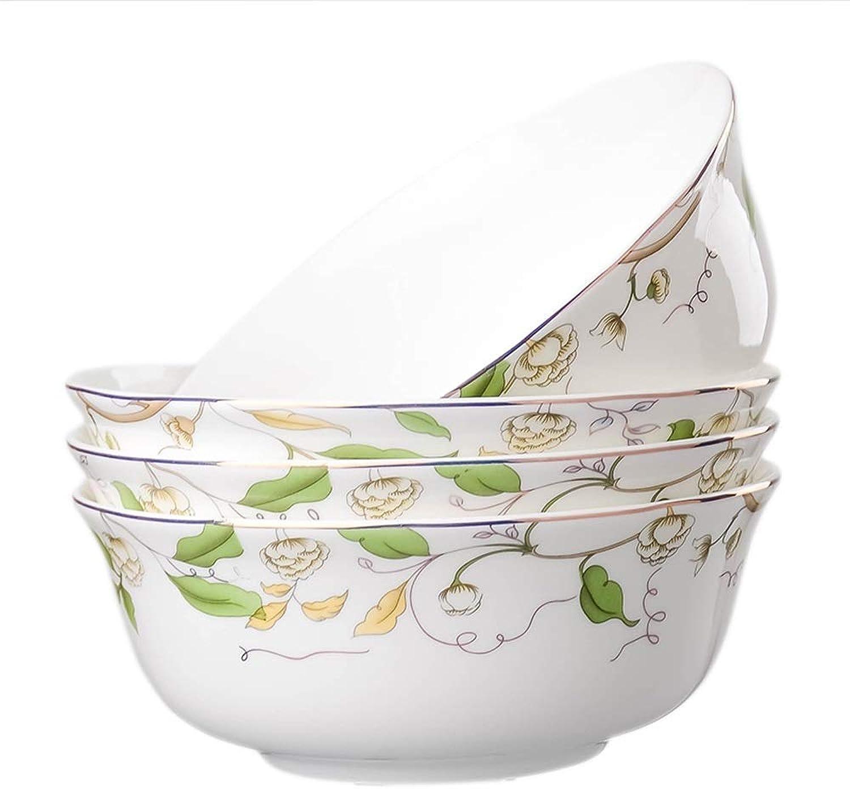 WSY Accueil Bol en Porcelaine Tendre Pack de 4 Plats à Soupe Bol à Riz 6 Pouces Bol à Salade Bol à Fruits -8 Styles (Couleur   A)