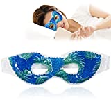 Cooling Eye Mask Reusable Gel Eye Mask for Puffiness, Cold Eye Mask Eye Ice Mask Pack for Dry Eyes,Puffy Eyes, Dark Circles,Headache, Migraine, Stress Relief (Leaves)