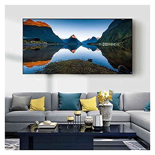 ZHANGKAIXUAN Paisaje Pintura al óleo montaña Bosque Azul Lago Arte Lienzo Pintura Sala de Estar Sala de Estar Pasillo Oficina decoración Mural 30x60cm Marco