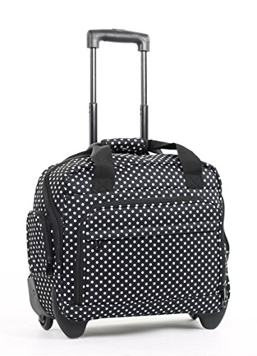 Members Essential On-Board Business Case Laptop Case on Wheels (Black & White Polka)