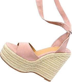 95c9c02da26474 DOLDOA Sandales Compensees Femme Noir Chaussures Compensees Femme de Lacet  Hauts Talon compensées de Fond épais