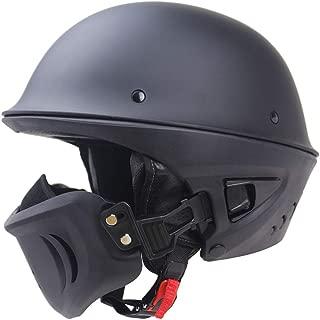 Aks Yue Open-Face Helmets Half Helmets Moped Helmet ABS Helmet Detachable Lining Rogue Helmet DOT Certified Heavy Helmet Harley Retro Helmet Detachable Mask Multifunction