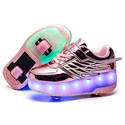 YADLCR Unisex Kinder Rollschuh Schuhe Removable Werden Sport Trainer USB Lade-LED-Schuhe Blinken Skateboardschuhe, für Jungen Mädchen Räder Schuhe (Color : Pink, Size : 33)