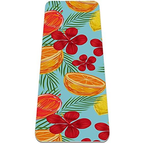 Esterilla de yoga, diseño de flores tropicales, antideslizante, para yoga, pilates y gimnasia