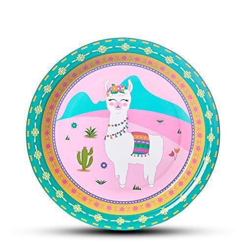 WERNNSAI Lama Kaktus Partyzubehör - 50 Stück Einweg Papier Teller Platten für Mädchen Geburtstags Baby Shower Alpaka Muster Rosa Mittagessen Geschirr