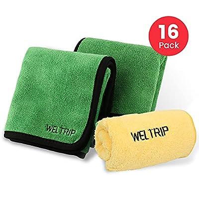 YANTU Multipurpose Plush Microfiber Edgeless Cleaning Towel for Household, Auto Washing, Car Drying, Detailing (Yellow+Green)
