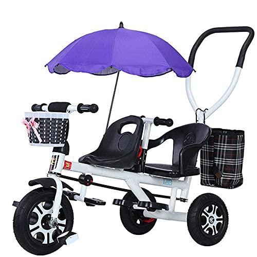 LINZI Trekes Tricicli per Bambini a Mano, Biciclette per Bambini in Tandem, Biciclette, passeggini Leggeri con ombrelloni, tricicli per Bambini, Bianco (Colore: Bianco)
