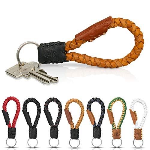 Schlüsselanhänger aus Echt-Leder in Fair-Trade Handarbeit hergestellt. Geflochtenes Schlüsselband/Lanyard- Krabi, in vielen Farben, Unisex für Damen & Herren (Braun & Schwarz)