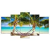 XHYUE 5 Piezas Cuadro sobre Lienzo Imagen Hamaca de Isla Tropical Impresión Pinturas Murales Decor Dibujo con Marco Fotografía 78.7x39.5 Inch(WxH)